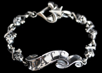 画像1: Message On Ribbon Bracelet Cross Bone / HATE (1)