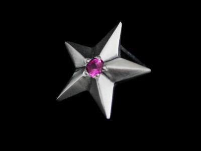 画像1: Shining Star Pierce (Synthetic Ruby) (1)